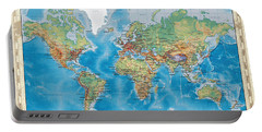 Huge Hi Res Mercator Projection Physical And Political Relief World Map Portable Battery Charger