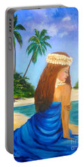 Portable Battery Charger featuring the painting Hula Girl On The Beach by Jenny Lee