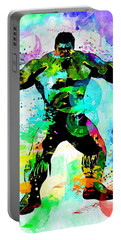 Hulk Watercolor Portable Battery Charger by Daniel Janda