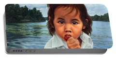 Portable Battery Charger featuring the painting Human-nature 48 by James W Johnson