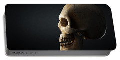 Human Skull Profile On Dark Background Portable Battery Charger