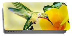 Hummingbird And California Poppy Portable Battery Charger