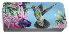Hummingbird And Fuchsias Portable Battery Charger by Jane Girardot