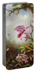 Hummingbird And Two Types Of Orchids Portable Battery Charger