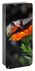 Hummingbird And Zinnia Portable Battery Charger