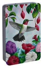 Hummingbird Greeting Card 2 Portable Battery Charger by Crista Forest