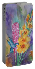 Portable Battery Charger featuring the painting Hummingbird Heaven by Ellen Levinson