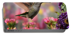 Hummingbird In Colorful Garden Portable Battery Charger by William Lee