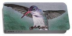 Portable Battery Charger featuring the drawing Hummingbird by Kume Bryant