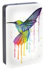 Hummingbird Of Watercolor Rainbow Portable Battery Charger by Olga Shvartsur