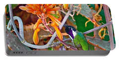 Hummingbird On Aloe In Living Desert In Palm Desert-california Portable Battery Charger by Ruth Hager