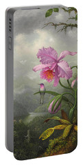 Hummingbird Perched On The Orchid Plant Portable Battery Charger by Martin Johnson Heade