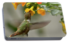 Hummingbird Sips Nectar Portable Battery Charger by Heiko Koehrer-Wagner