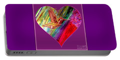 Portable Battery Charger featuring the painting Hummingbird Spreads Peace And Love by Kimberlee Baxter
