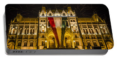 Hungarian Parliament At Night Portable Battery Charger