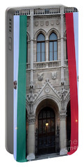 Hungary Flag Hanging At Parliament Budapest Portable Battery Charger