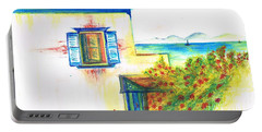 Portable Battery Charger featuring the painting Greek Island Hydra- Home by Teresa White
