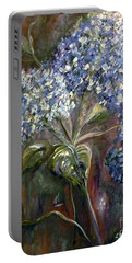 Portable Battery Charger featuring the painting Hydrangea Bouquet At Dawn by Eloise Schneider