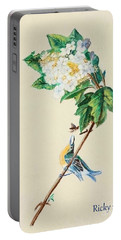 Hydrangea With Yellow Breasted  Vireo After Audubon Portable Battery Charger by Veronica Rickard