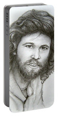 Portable Battery Charger featuring the drawing Barry Gibb by Patrice Torrillo