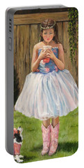Portable Battery Charger featuring the painting I Dressed Myself by Donna Tucker