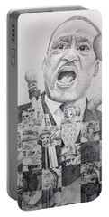 Portable Battery Charger featuring the drawing I Have A Dream Martin Luther King by Joshua Morton
