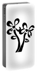 Portable Battery Charger featuring the drawing I Love You Flowers by Tamir Barkan