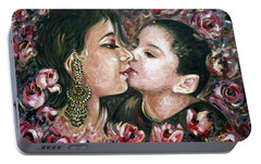 Portable Battery Charger featuring the painting I Love You Mom by Harsh Malik