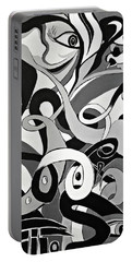 Black White Grey Acrylic Painting, Original Abstract Art, Hidden Eye Art  Portable Battery Charger