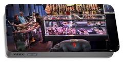 Iberico Ham Shop In La Boqueria Market In Barcelona Portable Battery Charger