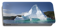 Portable Battery Charger featuring the photograph Iceberg Newfoundland Canada by Liz Leyden