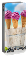 Icecreams With Blueberries Portable Battery Charger