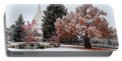 Idaho Falls Temple Winter Portable Battery Charger by David Andersen