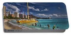 Idyllic Waikiki Beach Portable Battery Charger