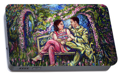 Portable Battery Charger featuring the painting If I Will Get Your Love by Harsh Malik