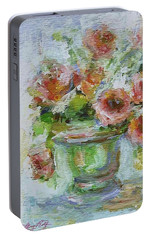 Portable Battery Charger featuring the painting Impressionist Roses 2 by Mary Wolf