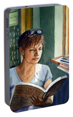 Portable Battery Charger featuring the painting In The Book Store by Irina Sztukowski