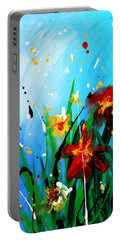 Portable Battery Charger featuring the painting In The Garden by Kume Bryant
