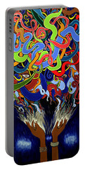 Colorful Abstract Art Painting, African Goddess Art, Creation, Energy, Afrofuturism, Cosmigalaxy Portable Battery Charger