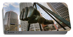 In Your Face -  Joe Louis Fist Statue - Detroit Michigan Portable Battery Charger by Gordon Dean II