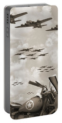 Indian 841 And The B-17 Panoramic Sepia Portable Battery Charger