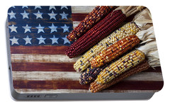 Indian Corn On American Flag Portable Battery Charger by Garry Gay