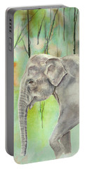 Portable Battery Charger featuring the painting Indian Elephant by Elizabeth Lock