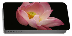 Indian Lotus On Black --- Sacred Light Portable Battery Charger by Byron Varvarigos