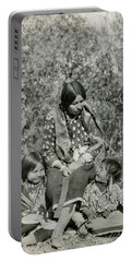 Portable Battery Charger featuring the photograph Indian Mother With Daughters by Charles Beeler