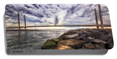 Indian River Bridge Clouds Portable Battery Charger