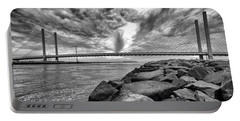 Indian River Bridge Clouds Black And White Portable Battery Charger