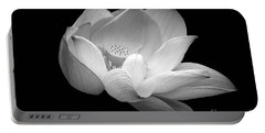 Indian Sacred Lotus In Black And White Portable Battery Charger