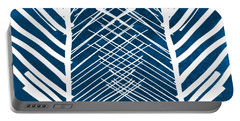 Indigo And White Leaves- Abstract Art Portable Battery Charger
