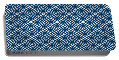 Indigo And White Small Diamonds- Pattern Portable Battery Charger